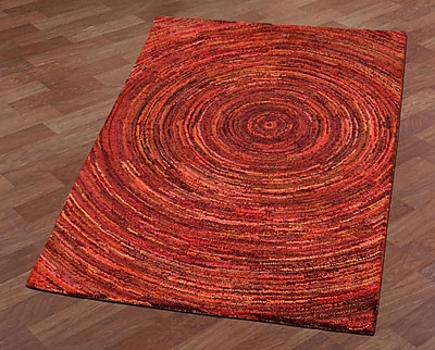 St. Croix Brilliant Ribbon Hurricane Hand-Tufted Red Area Rug; 5' x 8'