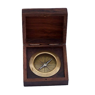 Breakwater Bay Decorative Desk Compass w/ Rosewood Box (Set of 2); Antique Brass WYF078281258220