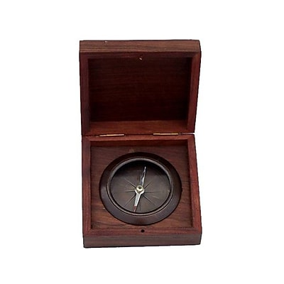 Breakwater Bay Decorative Desk Compass w/ Rosewood Box (Set of 2); Antique Copper WYF078281258221