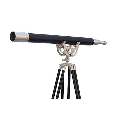 Longshore Tides Violette Floor Standing Brushed Nickel w/ Leather Anchormaster Telescope