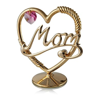 MatashiCrystal 24K Gold Plated Beautifully Crafted Mom in a Heart Table Top Ornament Letter Block