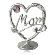 MatashiCrystal Silver Plated Beautifully Crafted 'Mom in a Heart' Table Top Ornament Letter Block