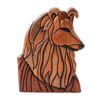 Novica Dog Artisan Crafted of Cedar and Mahogany Statue