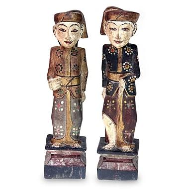 Novica Guardians of Singaraja Wood 2 Piece Sculpture Set