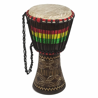 Novica Ghanaian Djembe Drum on Base Sculpture