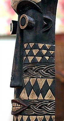 Novica Ghanaian Wood Mask from Africa Statue