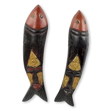 Novica 2 Piece Brother Fish Artisan Crafted Fish Theme African Masks Wall D cor Set