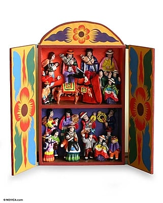 Novica Folk Art Wood Retablo Figurine