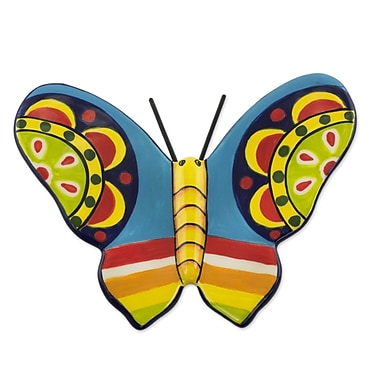 Novica Central American Butterfly Colorful Handcrafted Ceramic Butterfly Figurine