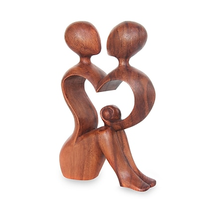 Novica A Heart Shared by Two Romantic Wood Figurine