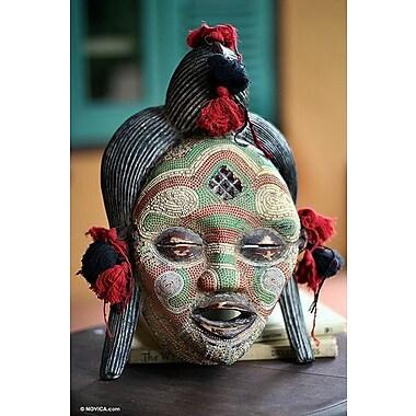Novica Hand Beaded Congo Zaire Wood Mask Wall D cor