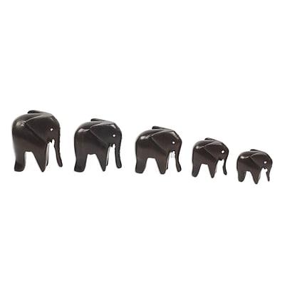 Novica 5 Piece Artisan Crafted Wood Elephant Figurine Set