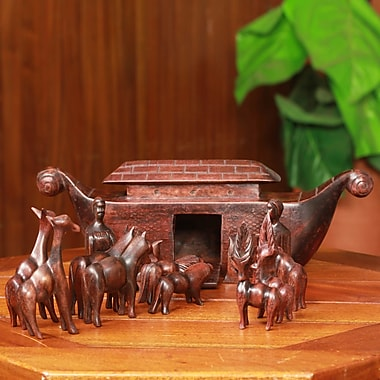 Novica 15 Piece Hand Carved Teakwood Noah's Ark Figurine Set