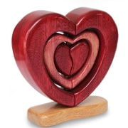 Novica Heart Trio Wood Sculpture