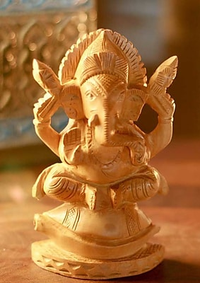 Novica Ganesha on the Conch Throne Wood Sculpture