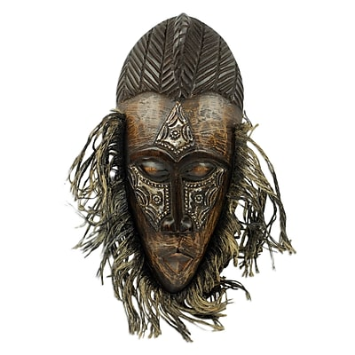 Novica African Original Tribal Dance Mask Crafted in Wood and Metal Wall D cor