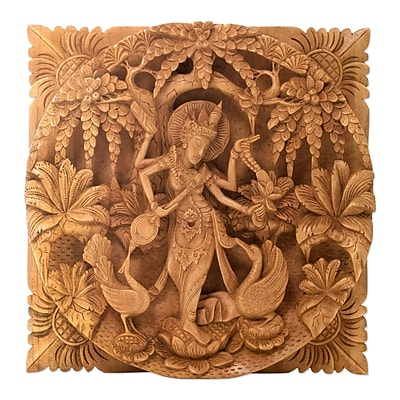 Novica Hindu Goddess Themed Carved Wood Relief Panel Wall D cor