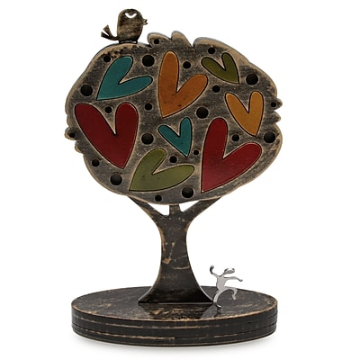 Novica Tree w/ Hearts and Bird Sculpture