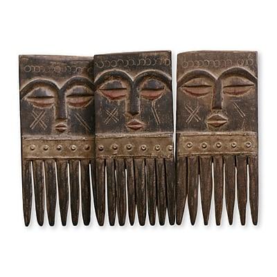 Novica Daniel Nyadedzor Decorative Handcrafted Wood Wall Comb (Set of 3)