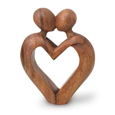 Novica Romantic Sweet Love Heart Sculpture
