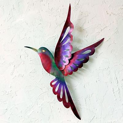 Novica Violet Hummingbird Purple Steel Bird Wall D cor
