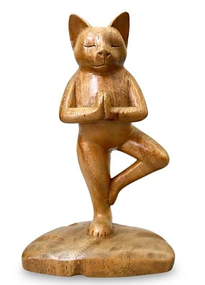 Novica Tree Pose Yoga Cat Figurine