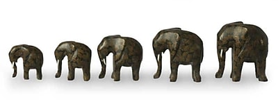 Novica 5 Piece African Elephants Figurine Set WYF078280023590