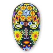 Novica Higinio Hern ndez Hand-Carved The Sun Beadwork Mask Wall Decor