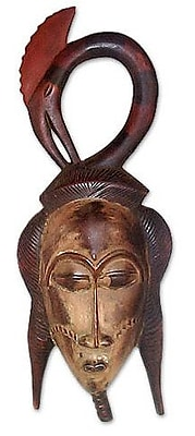 Novica Fair Trade Protection and Blessings Ivoirian Wood Mask Wall Decor