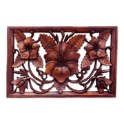 Novica Hand Crafted Floral Wood Relief Panel Wall D cor
