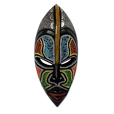Novica West African Wood Beaded Mask Wall D cor