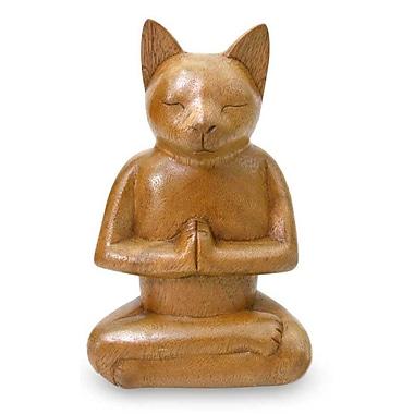 Novica Nengah Sudarsana Wood Cat Sculpture