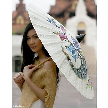 Novica Decorative Peacock and Flowers Saa Paper Parasol