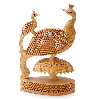 Novica Peacock Freedom Wood Figurine