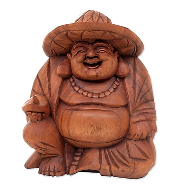 Novica Balinese Tropical Laughing Buddha Wood Figurine