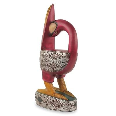 Novica Ali Ibrahim African Tribal Wood Bird Carving w/ Metal Accent Figurines