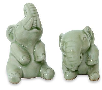 Novica Duangkamol 2 Piece Handmade Celadon Ceramic Sculpture Set