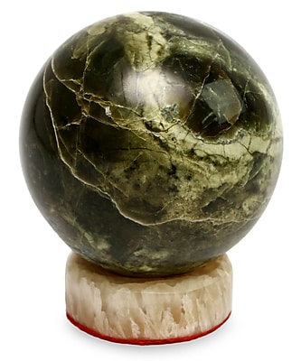 Novica Cesar Gonz les Calcite Base Serpentine Sphere Sculpture
