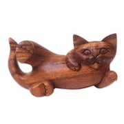 Novica Eka Balinese Signed Hand Carved in Wood Cat Sculpture