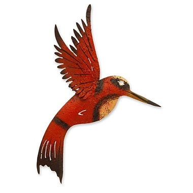 Novica Little Hummingbird Iron Sculpture Wall D cor