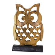 Novica Jaifah Aksornsri Adorable Owl Hand-Carved Wood Sculpture