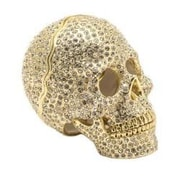 Alexander Kalifano Vanity Swarovski Skull Decorative Box; Gold