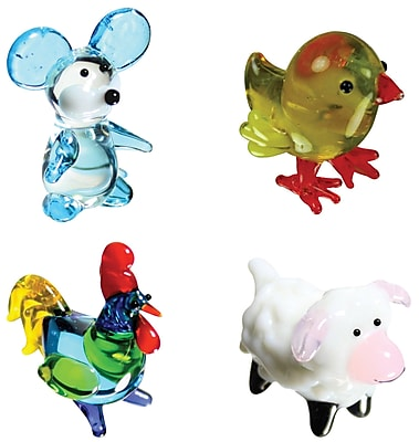 Looking Glass Figurines Miniature Mouse, Chickee, Rooster,
