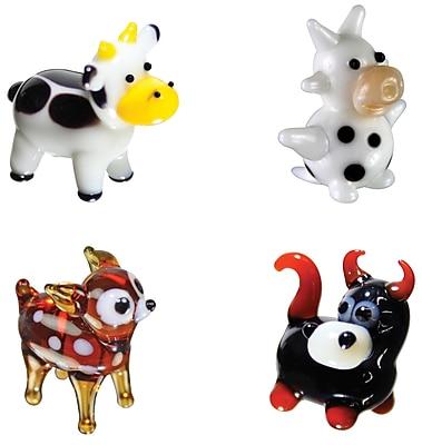 Looking Glass Figurines 4 Piece Miniature Cow, DairyCow, Deer, Bull Figurine Set