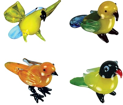 4 Piece Miniature Polly Parrot, Paris Parrot, Carrie Canary, Lindsay Lovebird Figurine Set