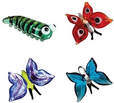 4 Piece Miniature Kate Caterpillar, Ruby Butterfly,