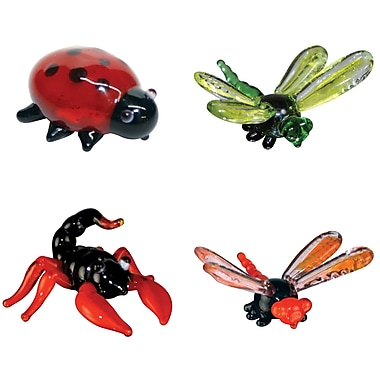 Looking Glass Figurines 4 Piece Miniature LadyBug, DragonFly, Scorpion, DamselFly Figurine Set