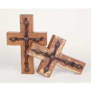 MyAmigosImports Old Door Barbed Wire Cross Wall Decor (Set of 2)