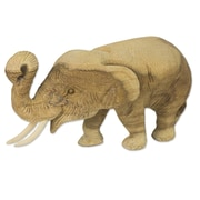 Novica Hand Carved Teak Wood Elephant Figurine