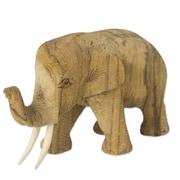 Novica Hand-Crafted Rain Tree and Ivory Wood Elephant Figurine